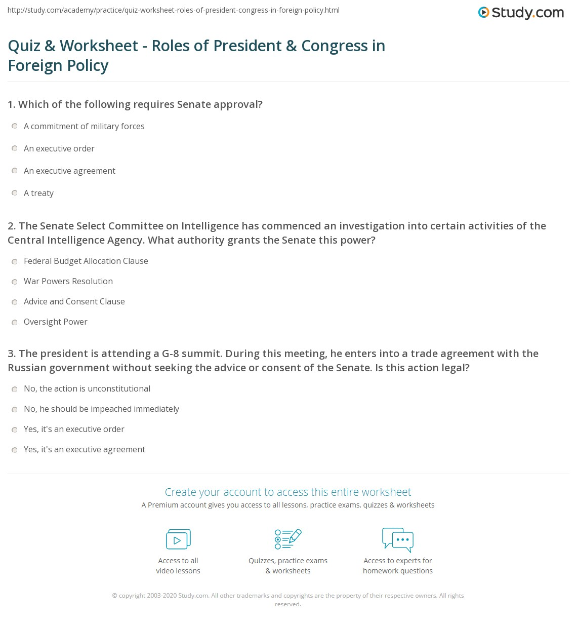 Quiz Worksheet Roles Of President Congress In Foreign Policy