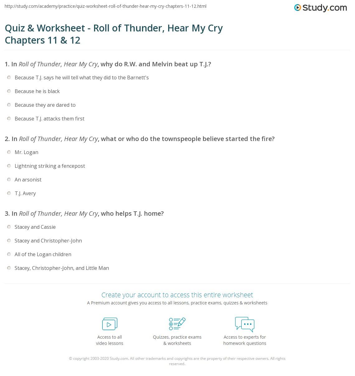 quiz worksheet roll of thunder hear my cry chapters 11 12. Black Bedroom Furniture Sets. Home Design Ideas