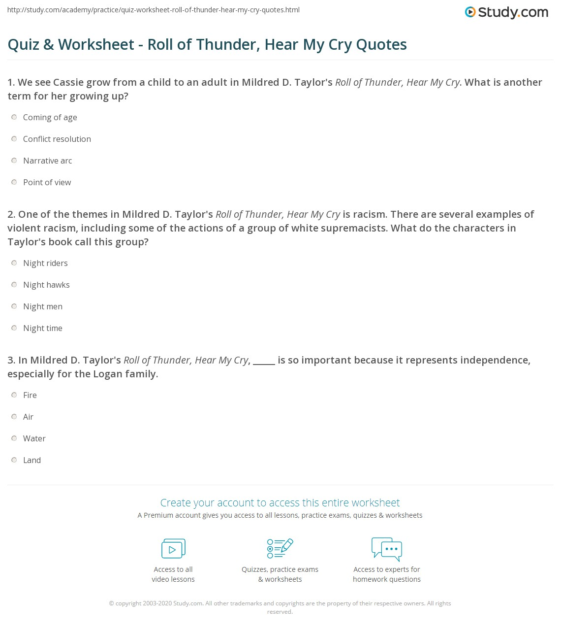 quiz worksheet roll of thunder hear my cry quotes. Black Bedroom Furniture Sets. Home Design Ideas