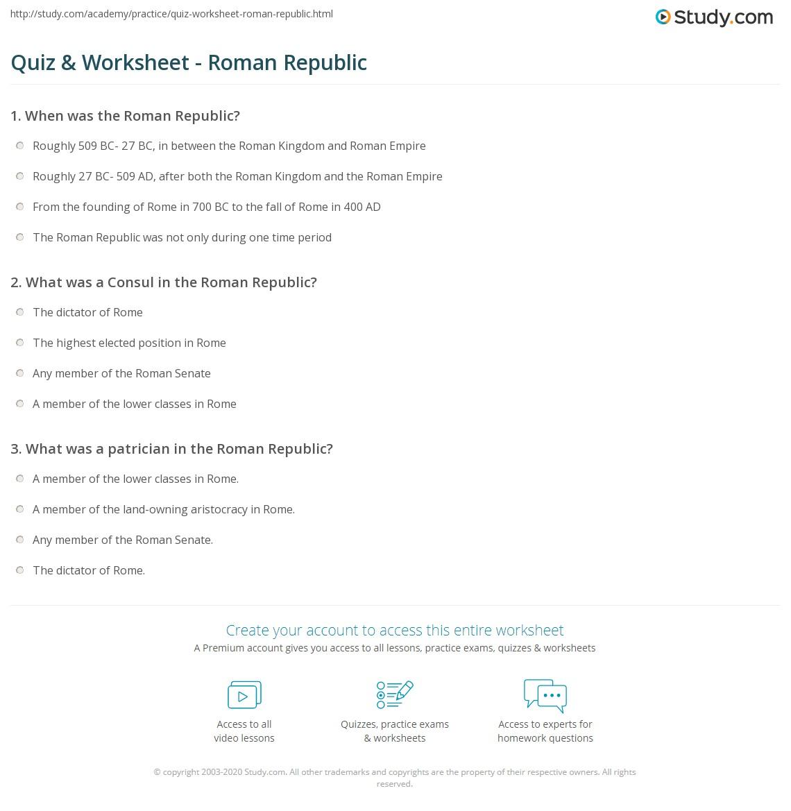 Quiz & Worksheet - Roman Republic | Study.com