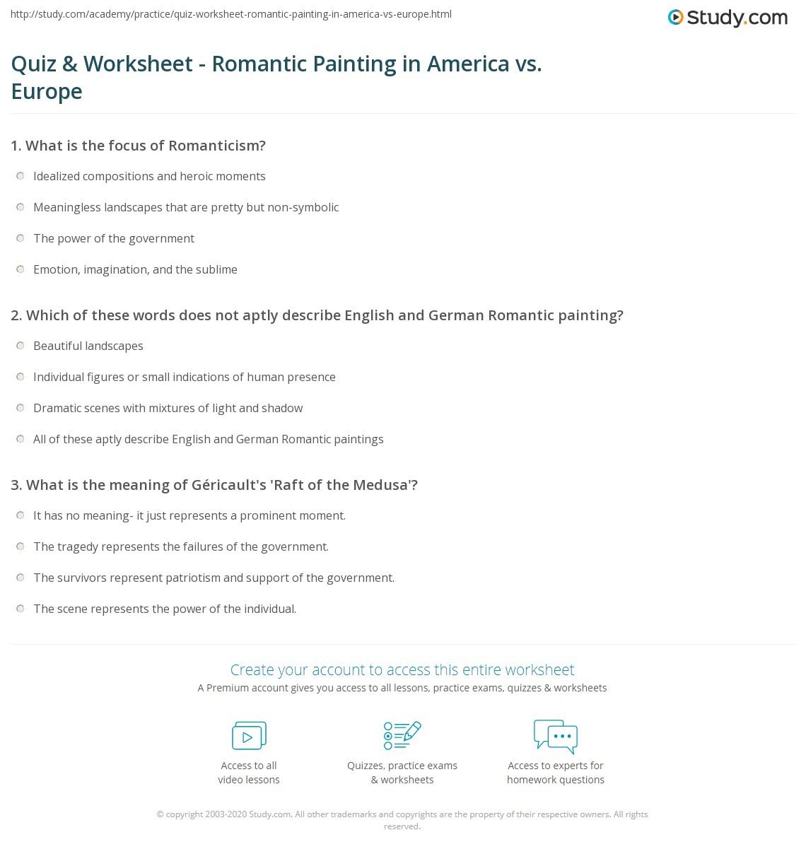 Quiz Worksheet Romantic Painting In America Vs Europe Study Com