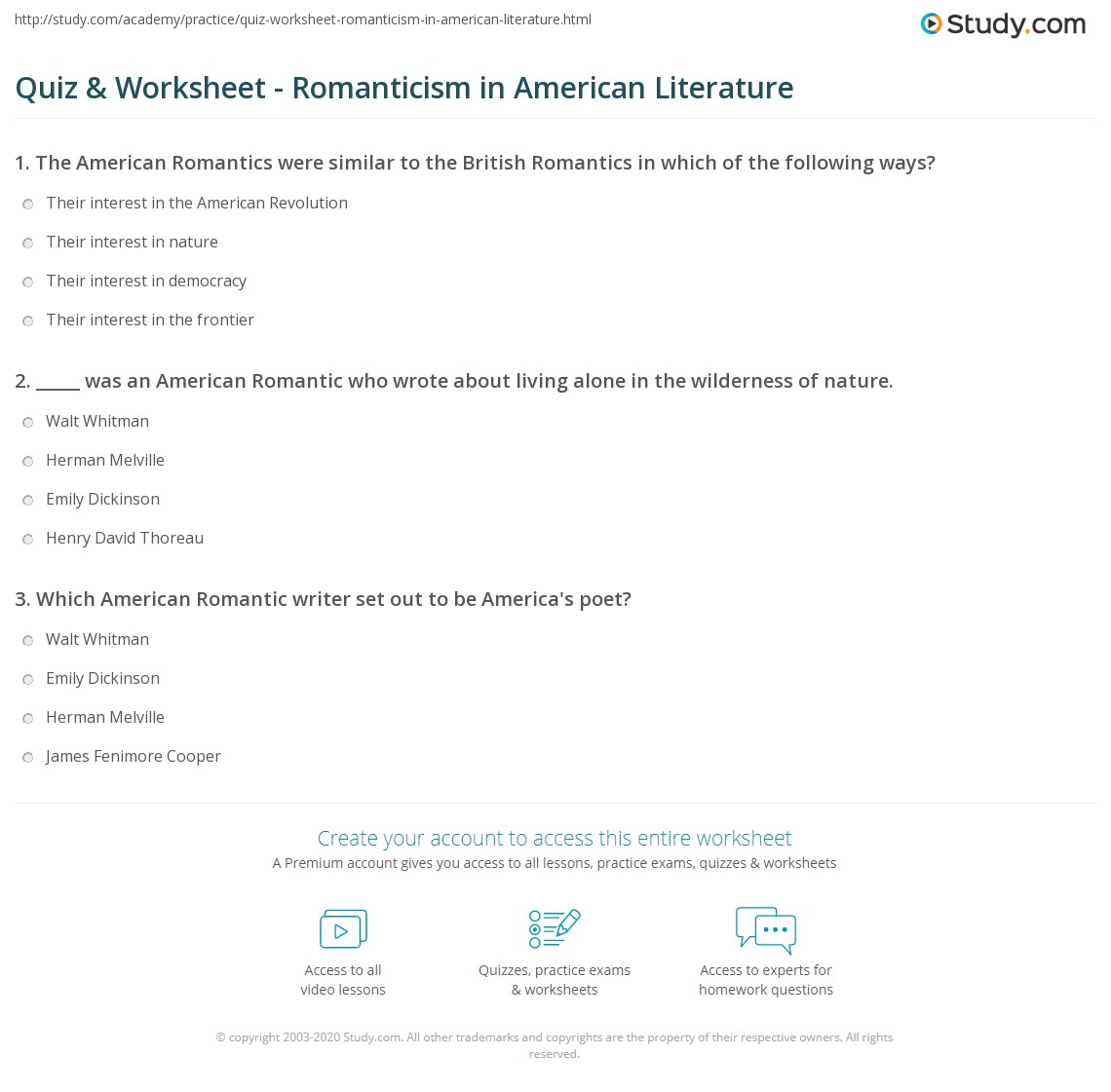 Worksheets American Literature Worksheets quiz worksheet romanticism in american literature study com print characteristics of worksheet