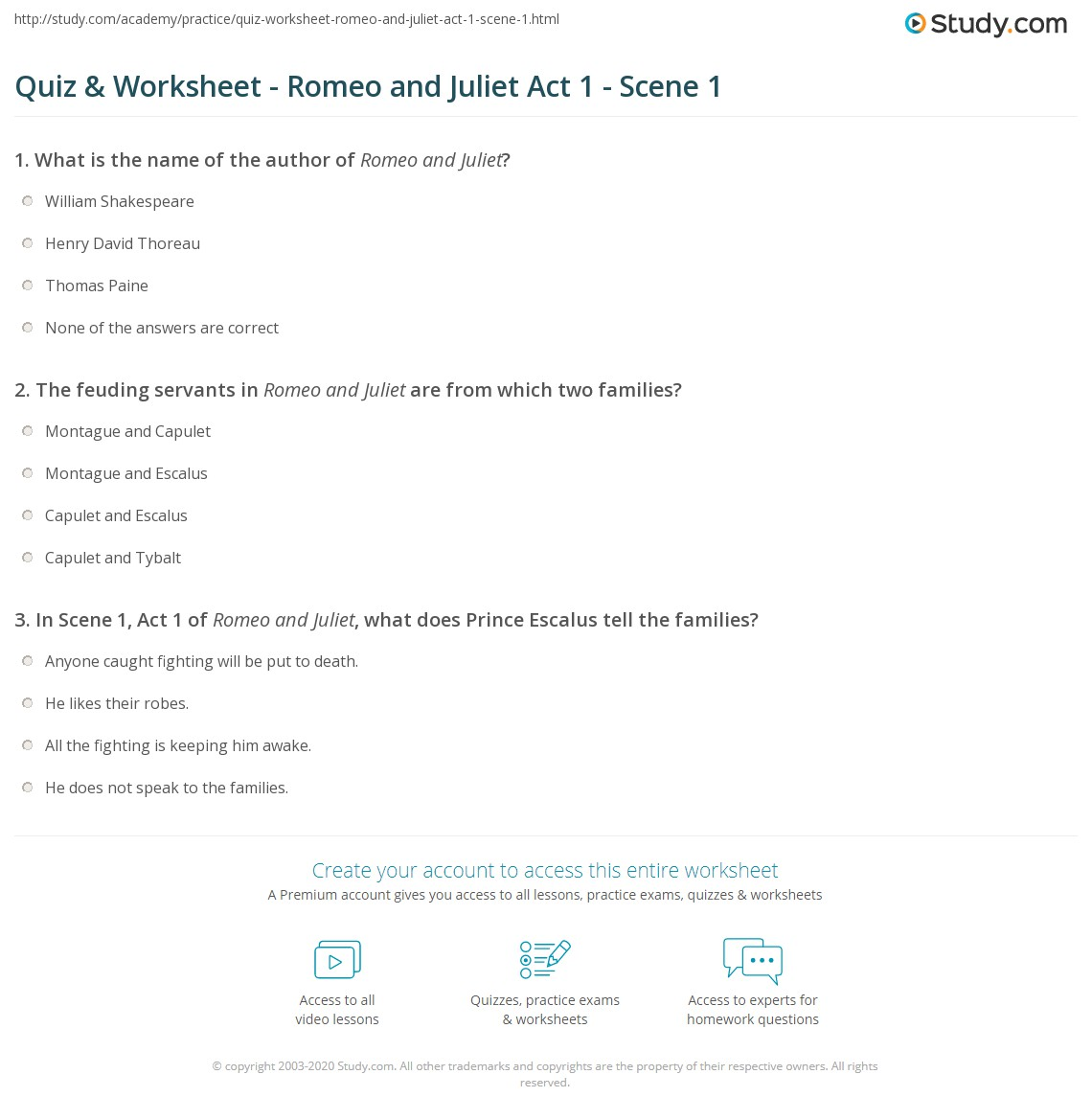 quiz worksheet romeo and juliet act 1 scene 1. Black Bedroom Furniture Sets. Home Design Ideas