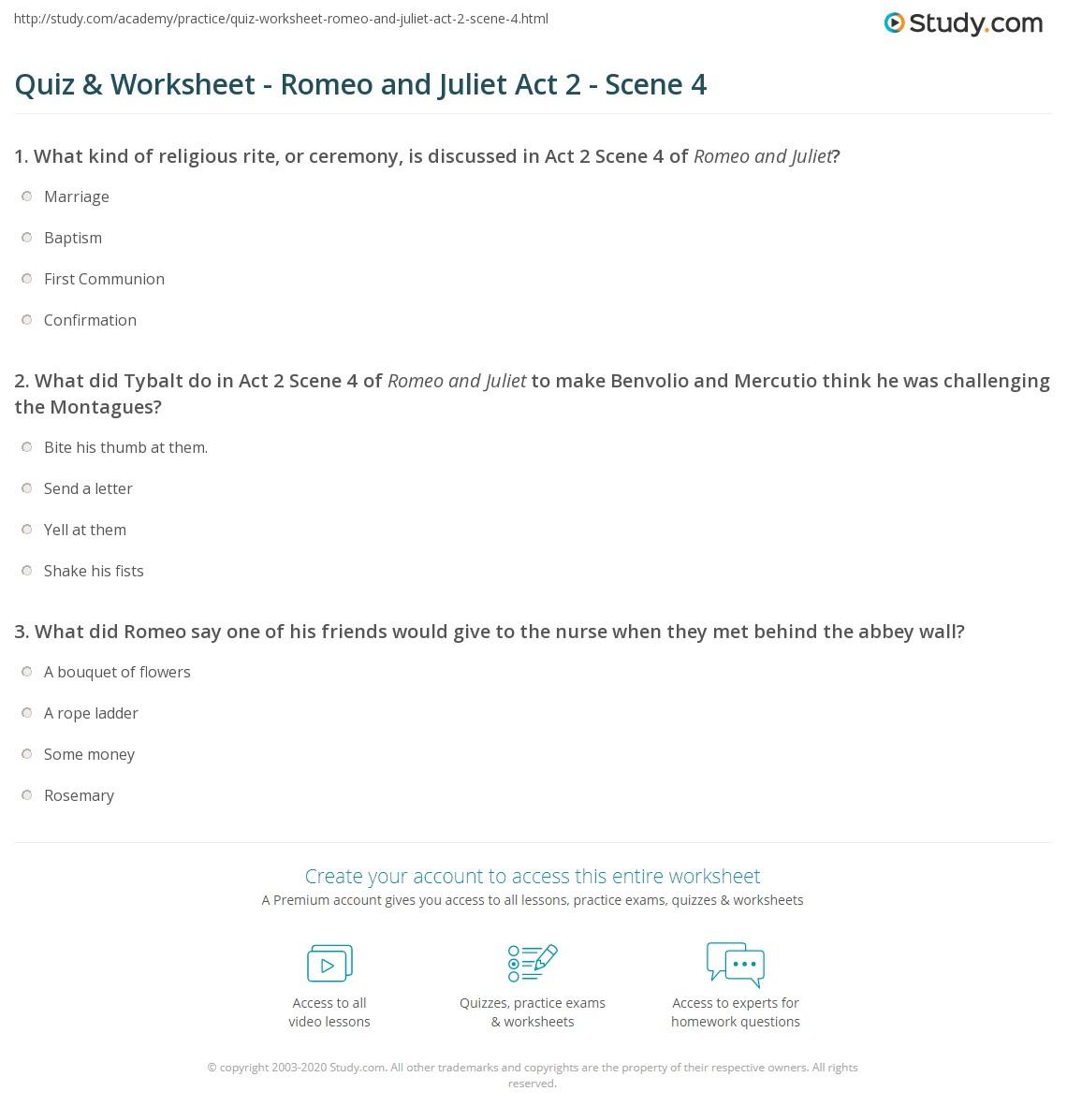 Quiz & Worksheet - Romeo and Juliet Act 2 - Scene 4 | Study com