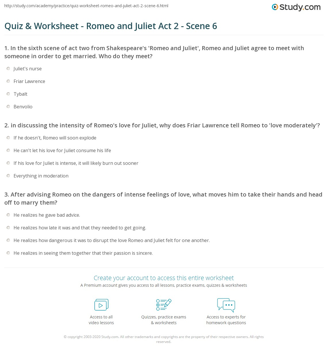 Quiz & Worksheet - Romeo and Juliet Act 2 - Scene 6 | Study com