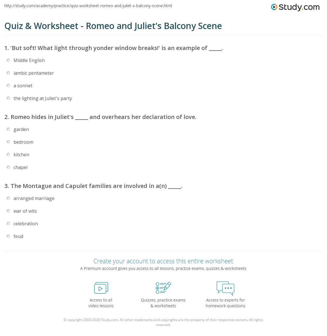 Romeo And Juliet Quotes And Meanings Quiz & Worksheet  Romeo And Juliet's Balcony Scene  Study