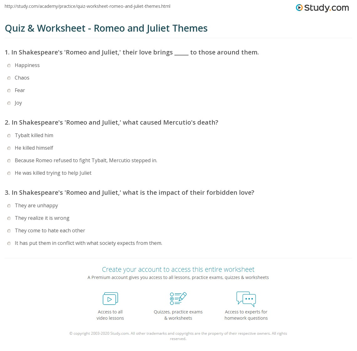 Quiz & Worksheet - Romeo and Juliet Themes | Study com