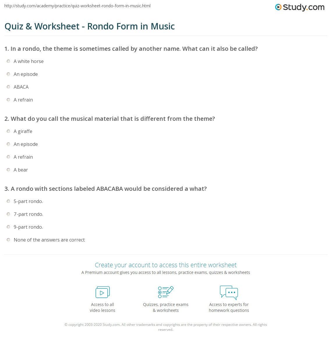 Quiz & Worksheet - Rondo Form in Music | Study.com