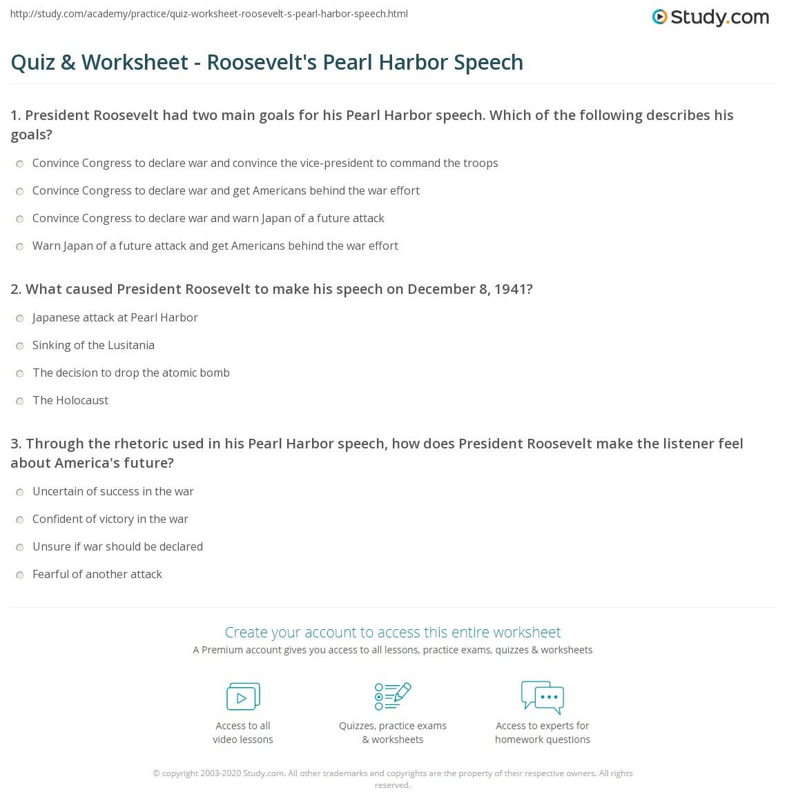 Quiz Worksheet Roosevelts Pearl Harbor Speech Study