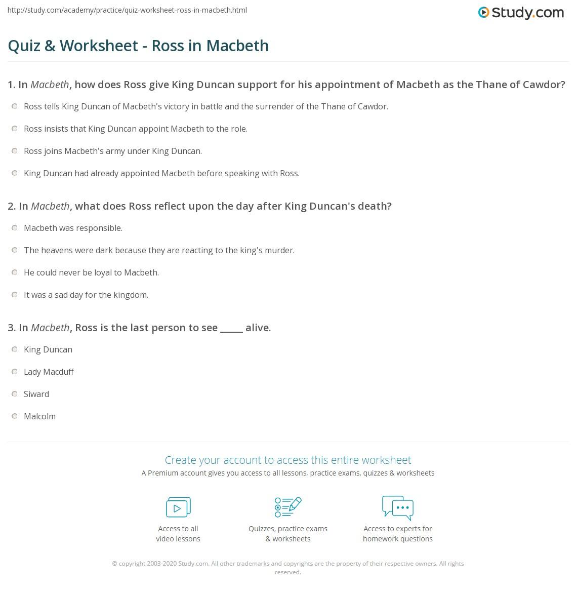 Quiz Worksheet Ross In Macbeth Studycom
