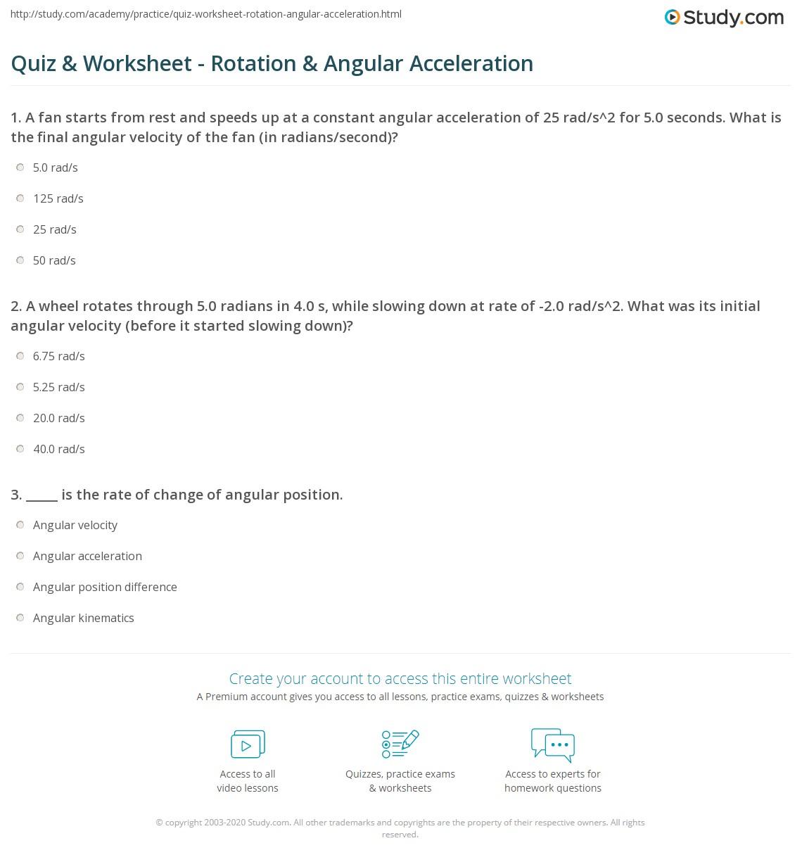 Quiz & Worksheet - Rotation & Angular Acceleration | Study.com