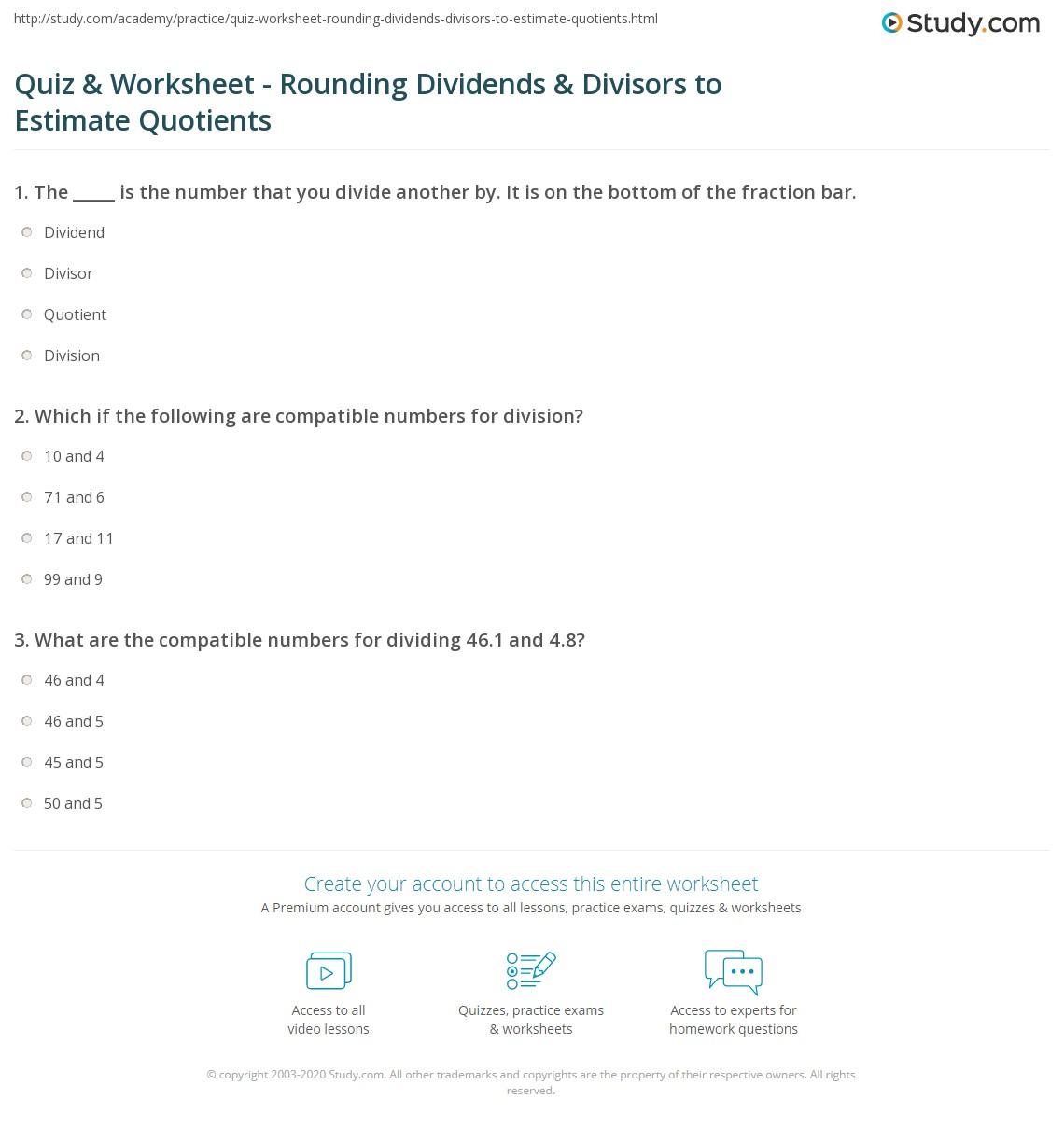 Quiz & Worksheet - Rounding Dividends & Divisors to Estimate ...