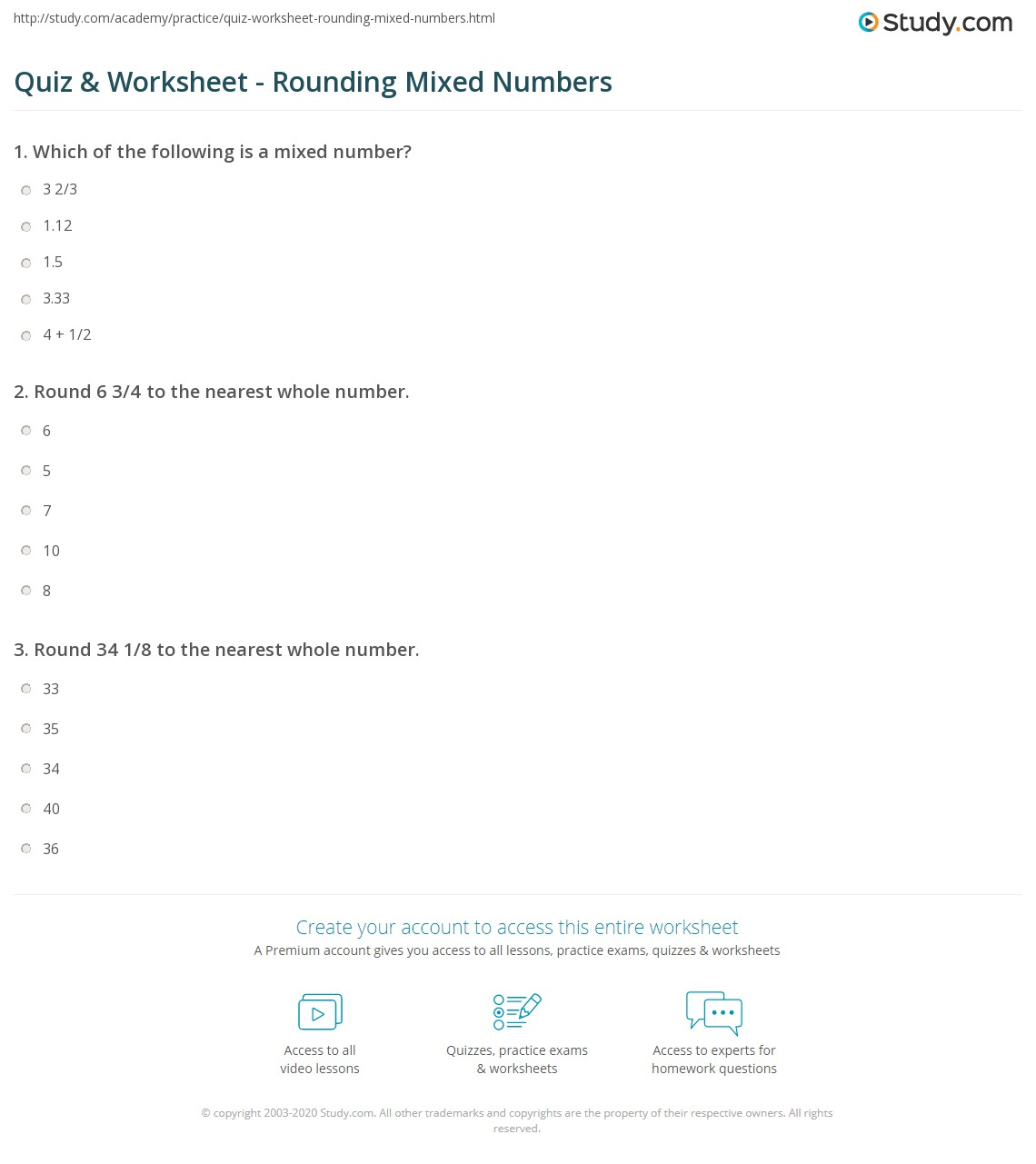 worksheet Rounding Numbers Worksheet quiz worksheet rounding mixed numbers study com print how to round worksheet
