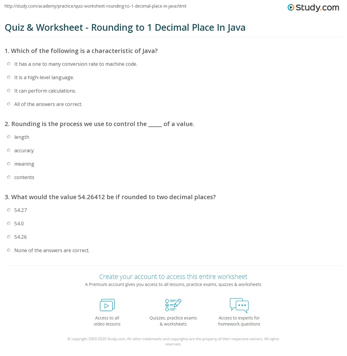 worksheet Rounding To 1 Decimal Place Worksheet quiz worksheet rounding to 1 decimal place in java study com print round one worksheet