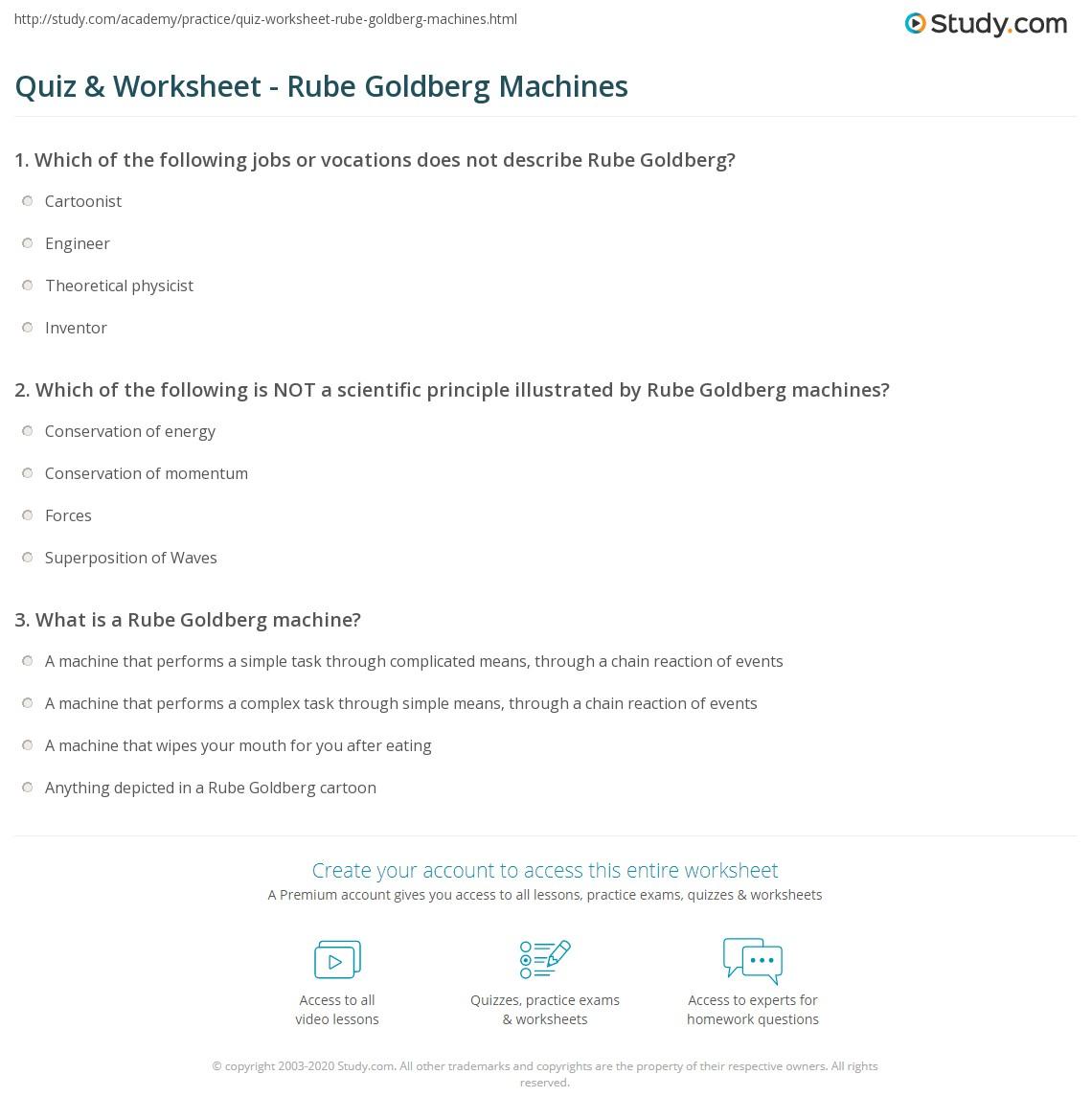 Quiz & Worksheet - Rube Goldberg Machines   Study.com