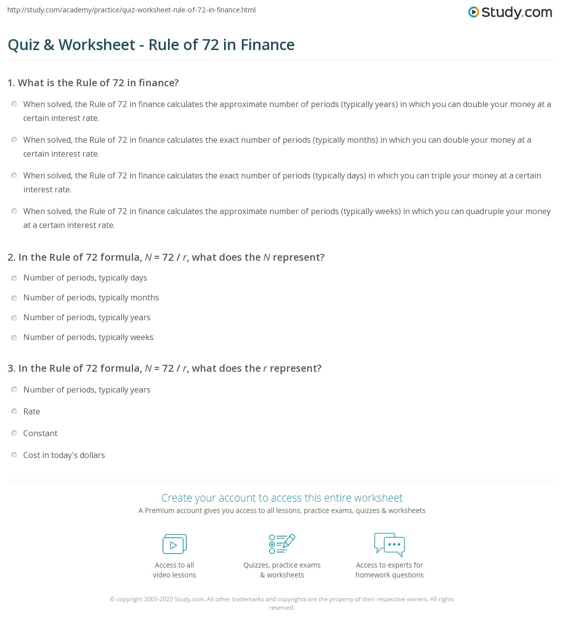 Worksheets Rule Of 72 Worksheet quiz worksheet rule of 72 in finance study com print what is the definition formula worksheet