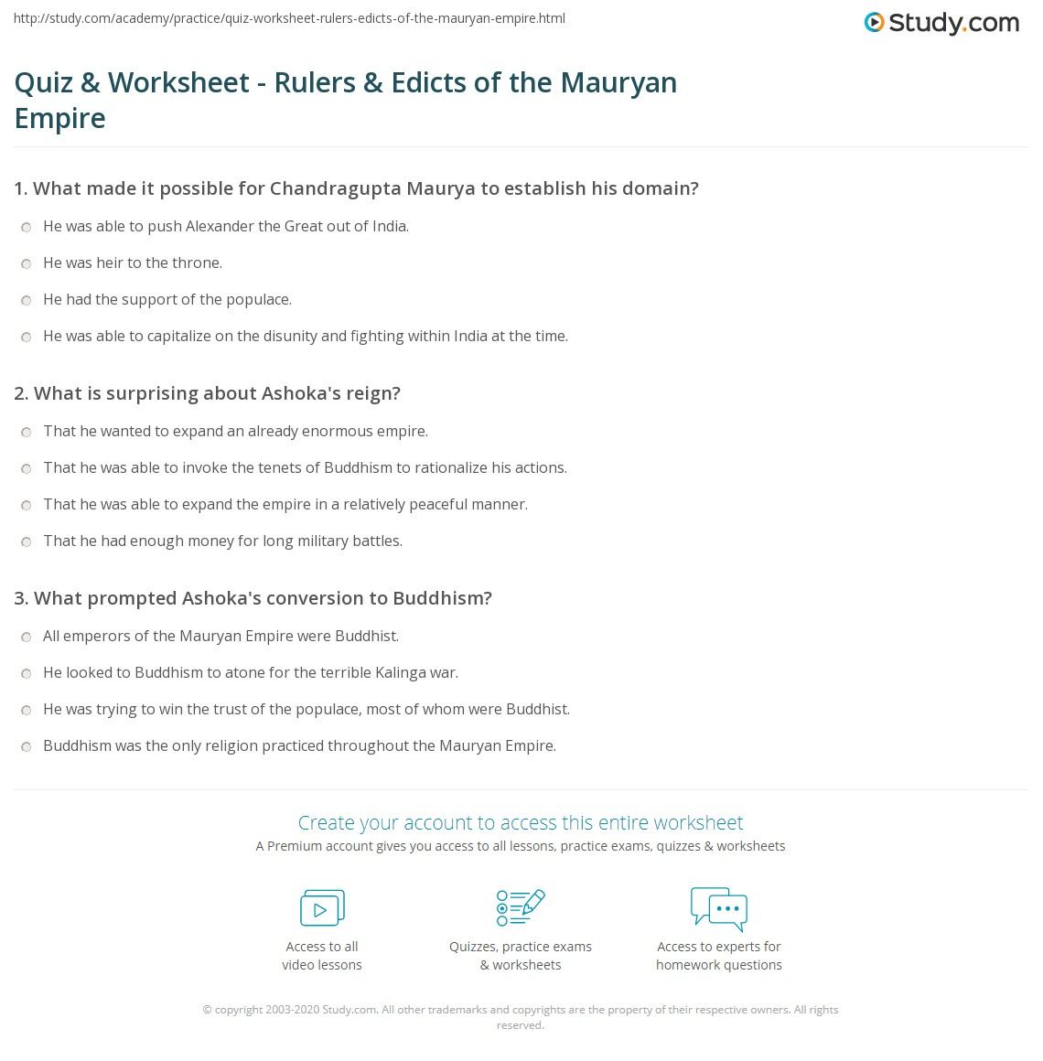 Quiz & Worksheet - Rulers & Edicts of the Mauryan Empire ...