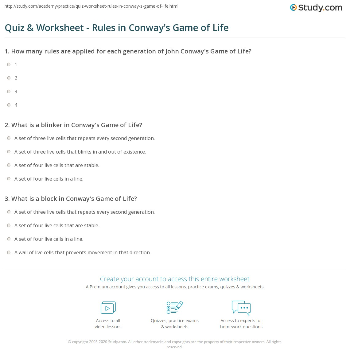 Quiz Worksheet Rules In Conway S Game Of Life Study Com