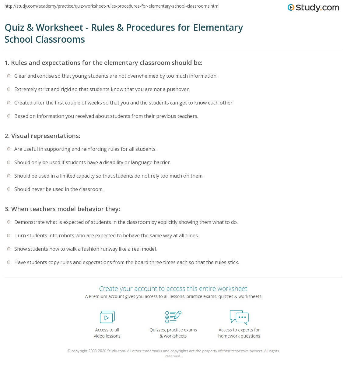 Elementary Classroom Procedures ~ Quiz worksheet rules procedures for elementary