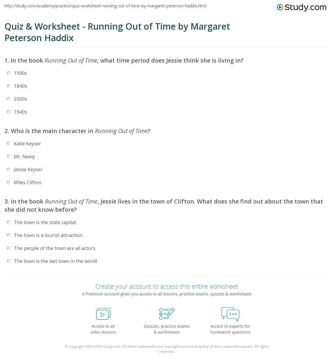 worksheet Time Study Worksheet quiz worksheet running out of time by margaret peterson haddix print book summary worksheet