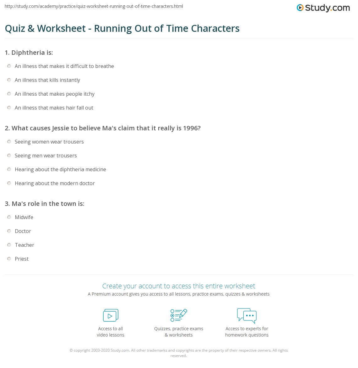 Quiz Worksheet Running Out Of Time Characters Studycom