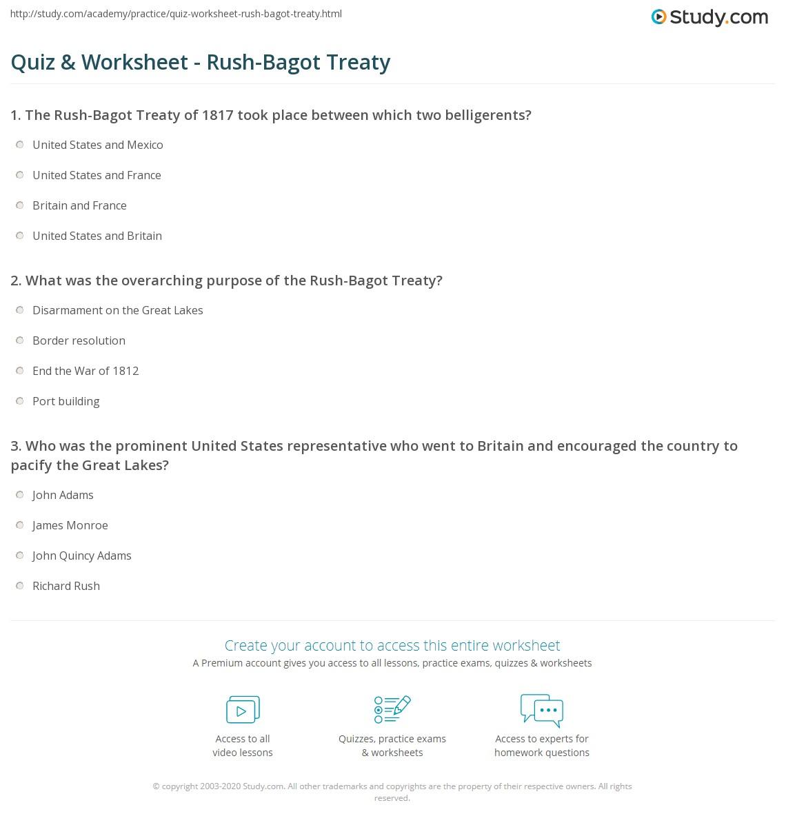 Quiz Worksheet Rush Bagot Treaty Study
