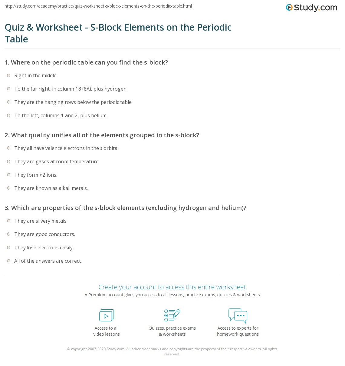 Quiz worksheet s block elements on the periodic table study print s block elements on the periodic table properties overview worksheet gamestrikefo Images