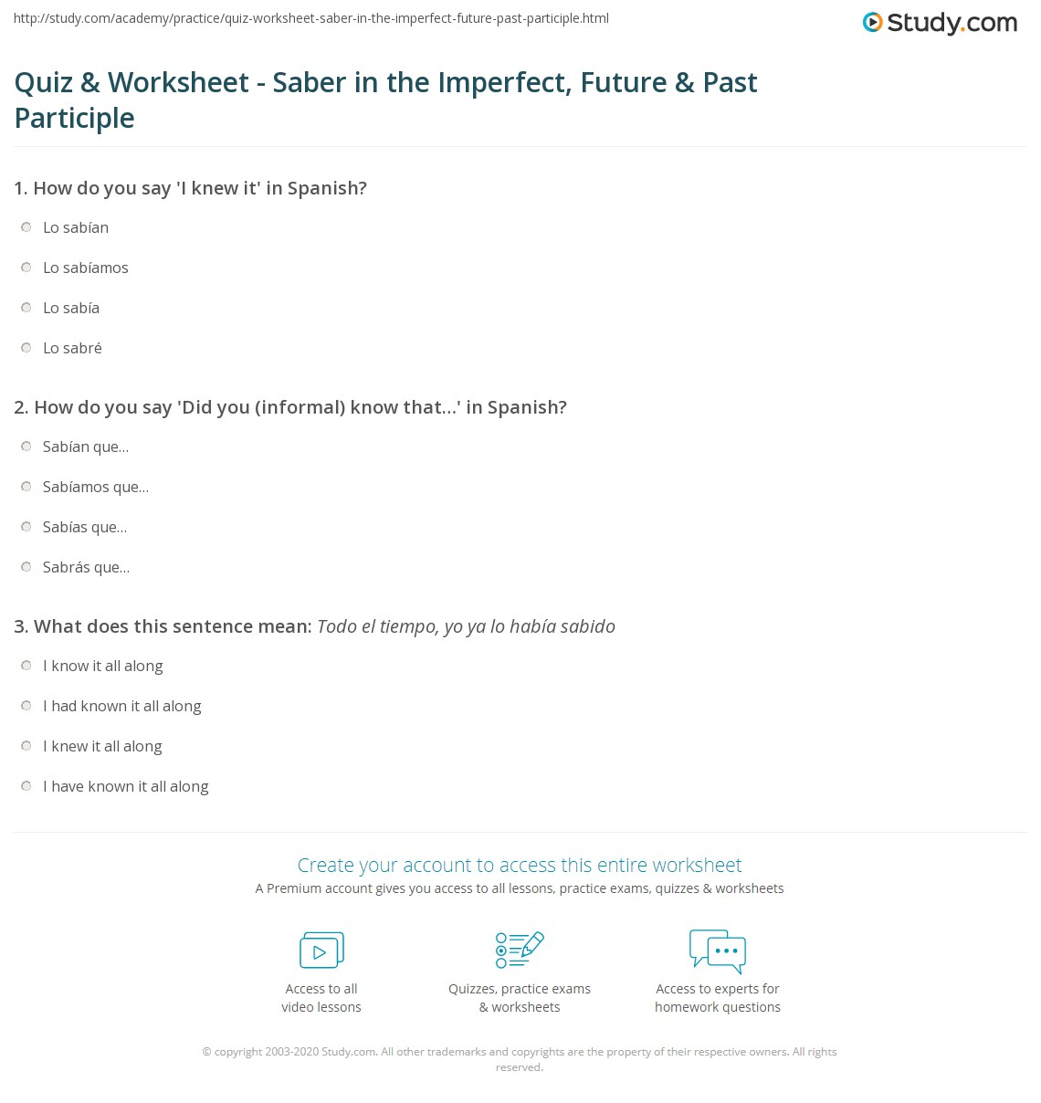 Quiz Worksheet Saber In The Imperfect Future Past Participle Study Com