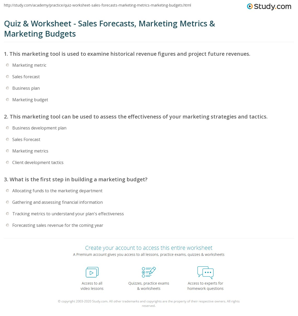 worksheet What Is The First Step In Planning An Effective Worksheet quiz worksheet sales forecasts marketing metrics print budgets worksheet