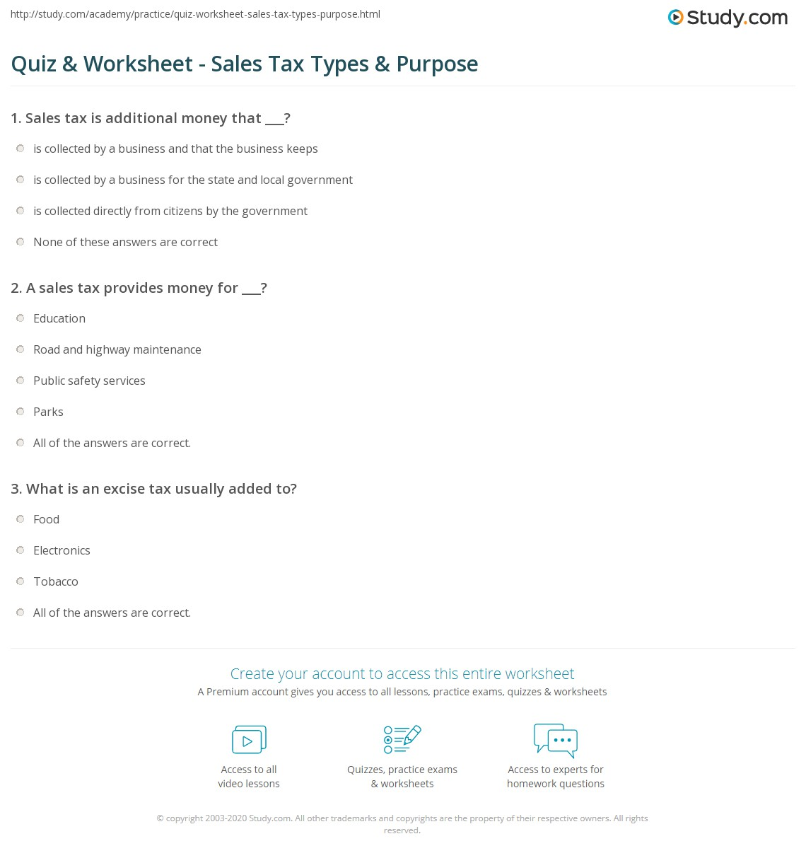 quiz worksheet sales tax types purpose. Black Bedroom Furniture Sets. Home Design Ideas