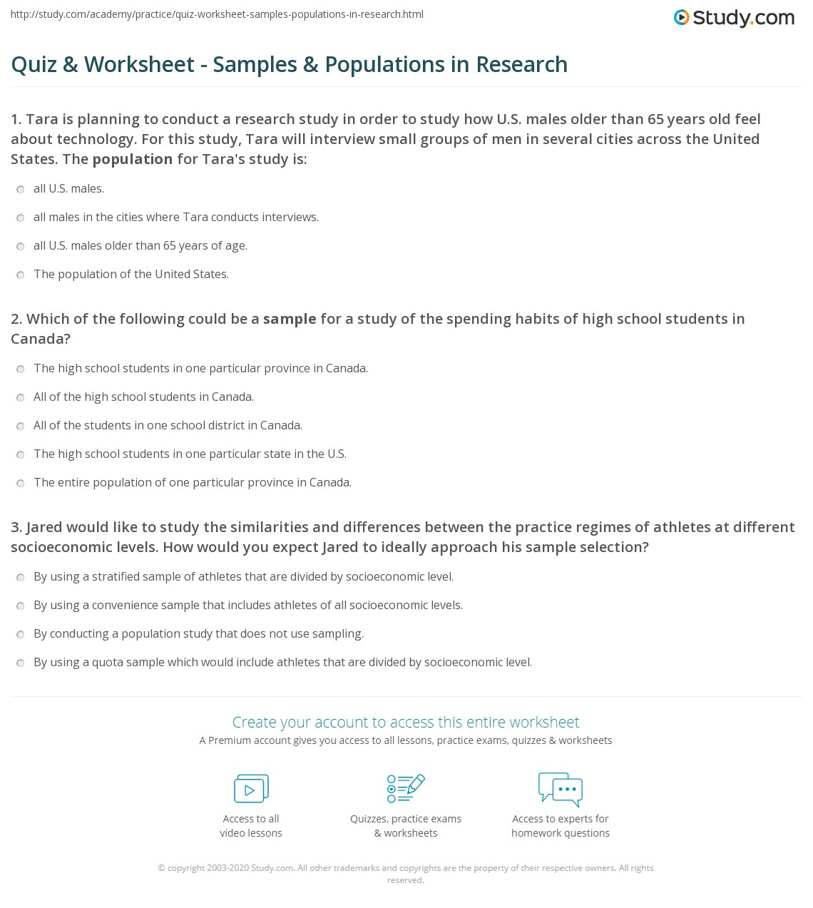 quiz worksheet samples populations in research. Black Bedroom Furniture Sets. Home Design Ideas