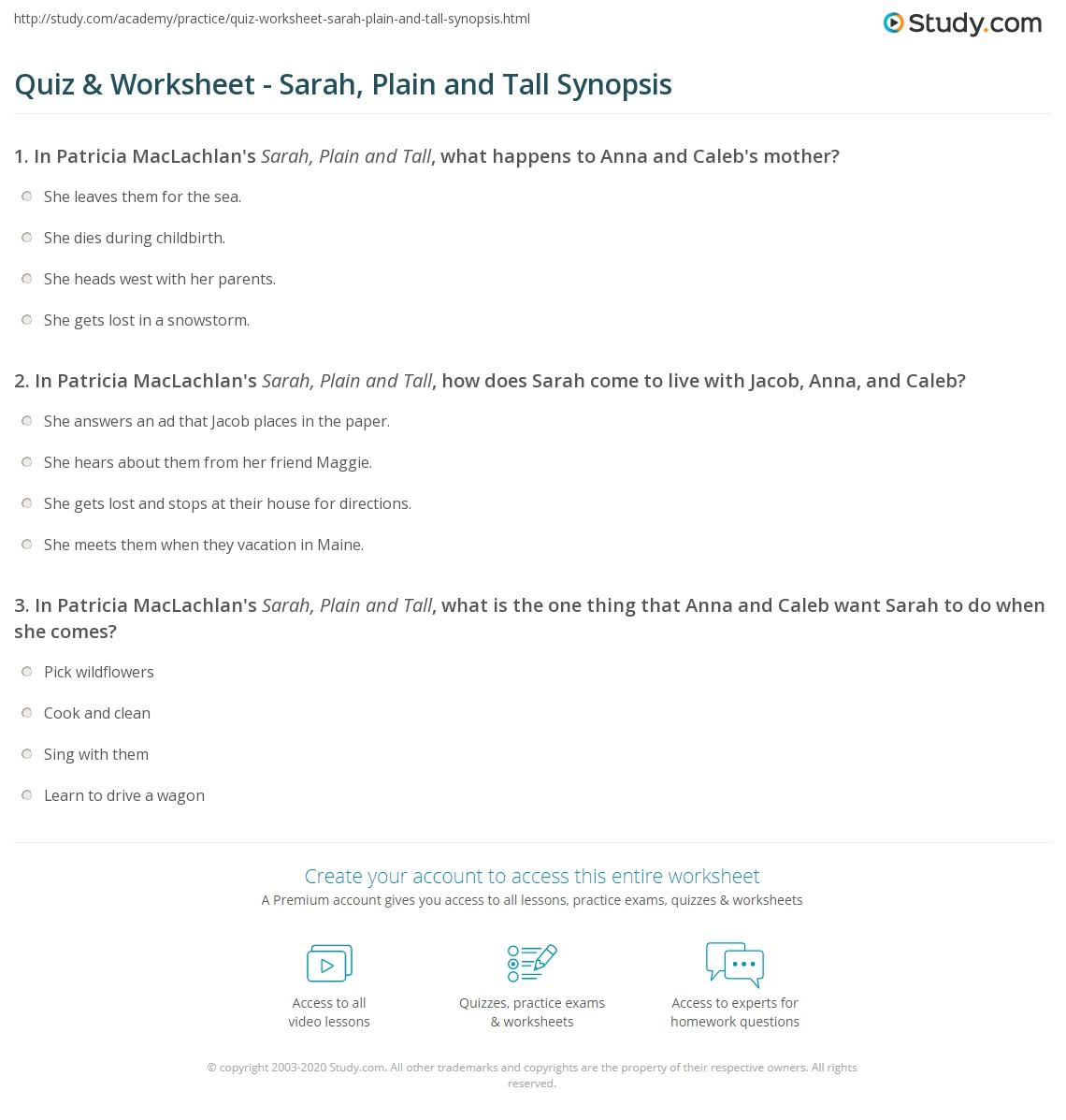 Worksheets Sarah Plain And Tall Worksheets quiz worksheet sarah plain and tall synopsis study com print summary characters worksheet