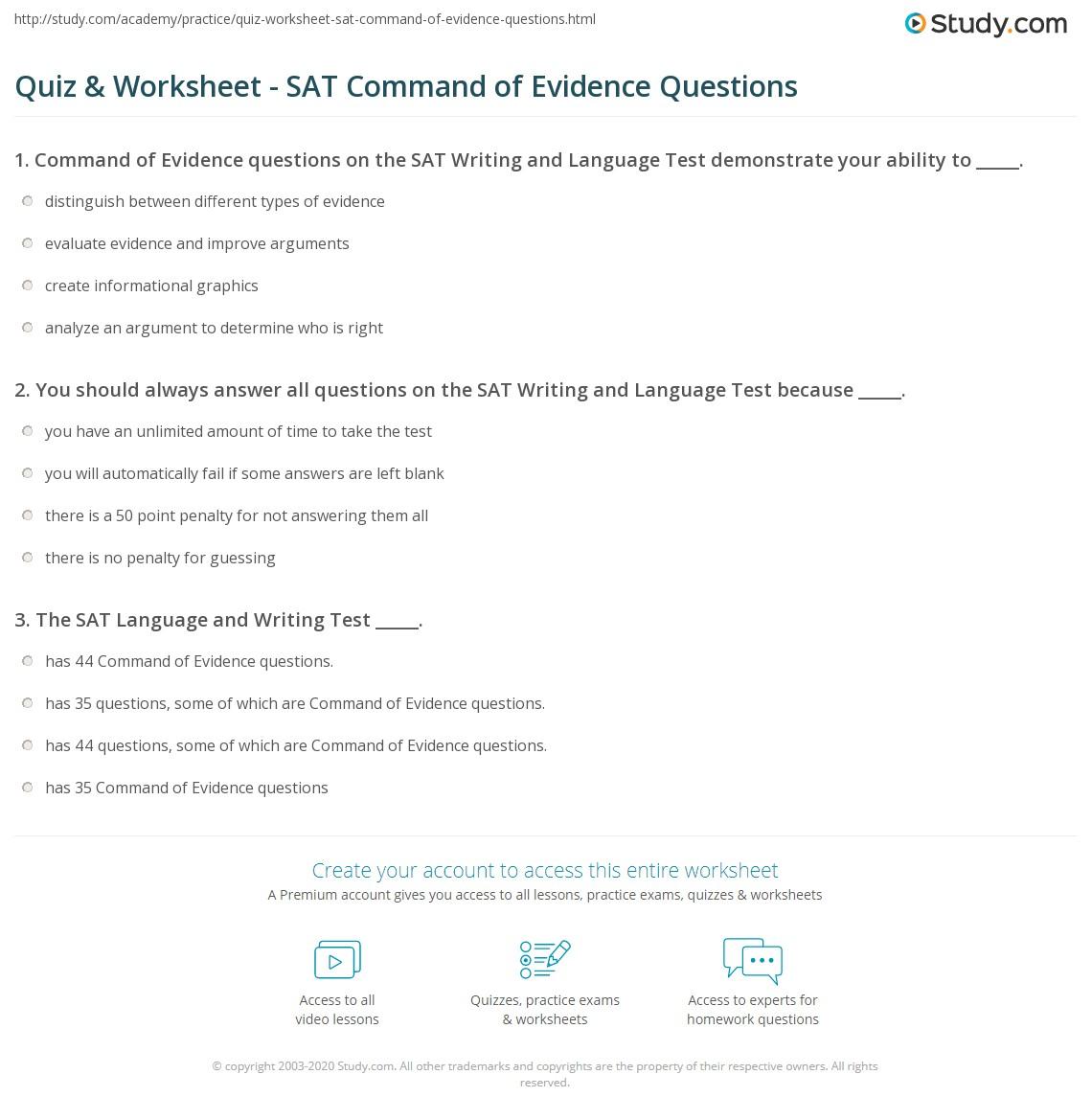 Worksheets Sat Grammar Worksheets quiz worksheet sat command of evidence questions study com print writing language test worksheet
