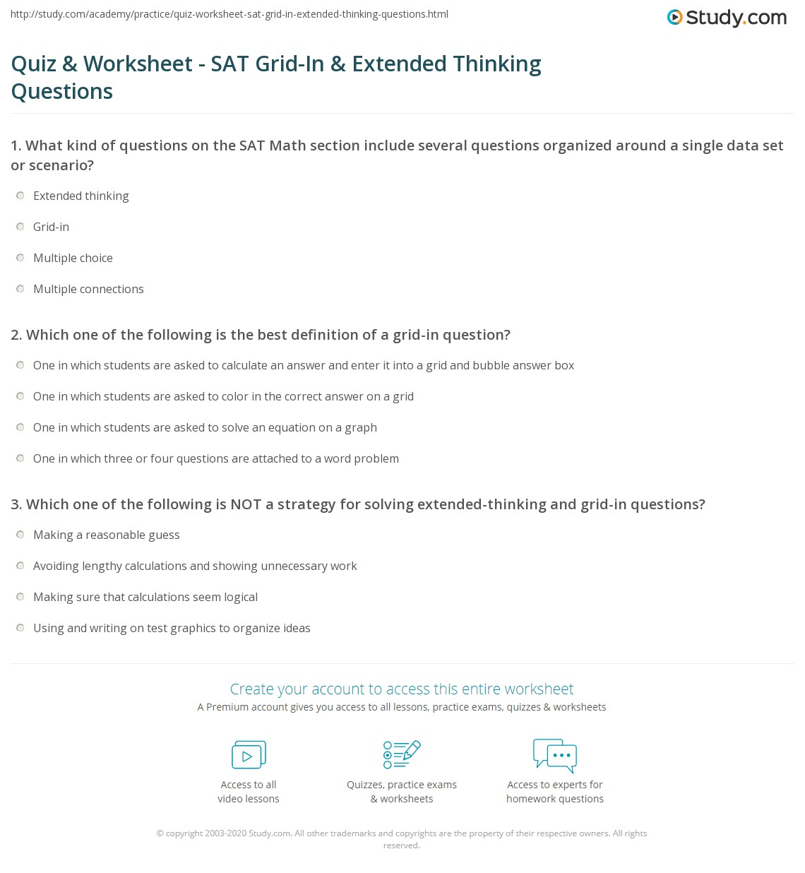 math worksheet : quiz  worksheet  sat grid in  extended thinking questions  : Sat Math Worksheets