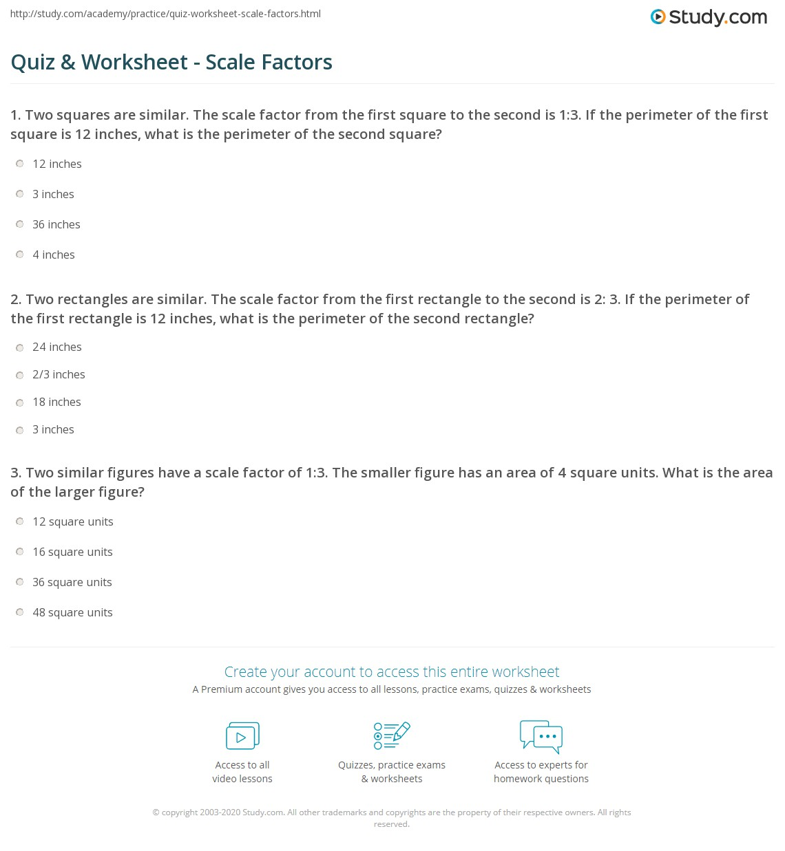 Quiz & Worksheet - Scale Factors | Study.com