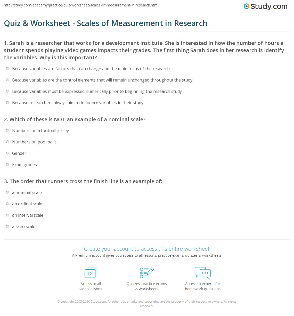 Quiz Worksheet Scales of Measurement in Research – Indirect Measurement Worksheet