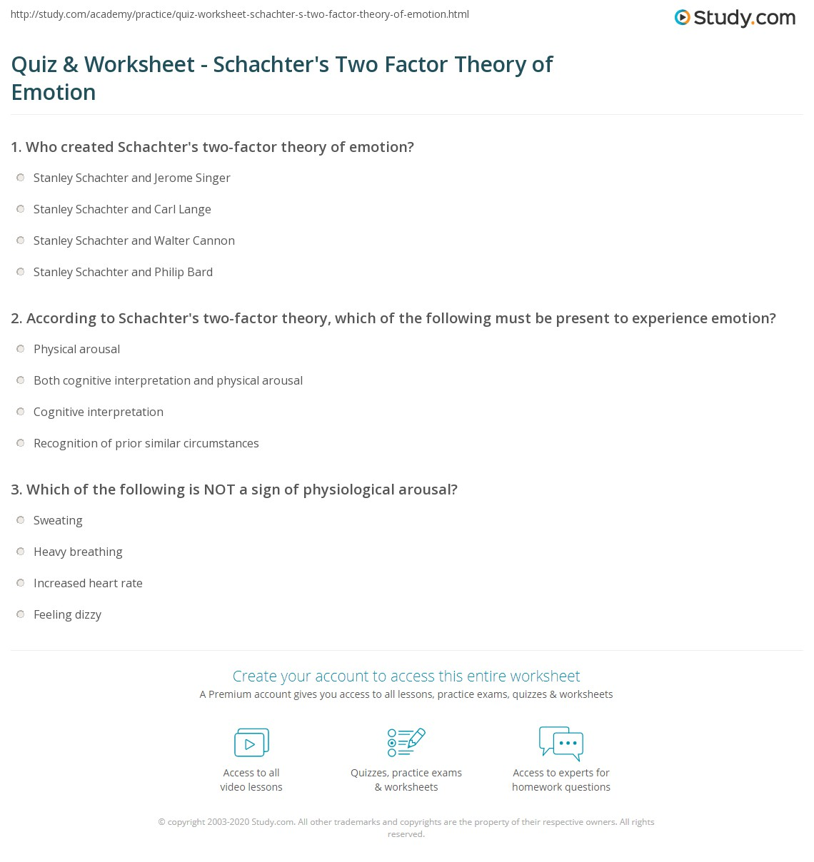 worksheet Theories Of Emotion Worksheet Answers quiz worksheet schachters two factor theory of emotion study com print worksheet