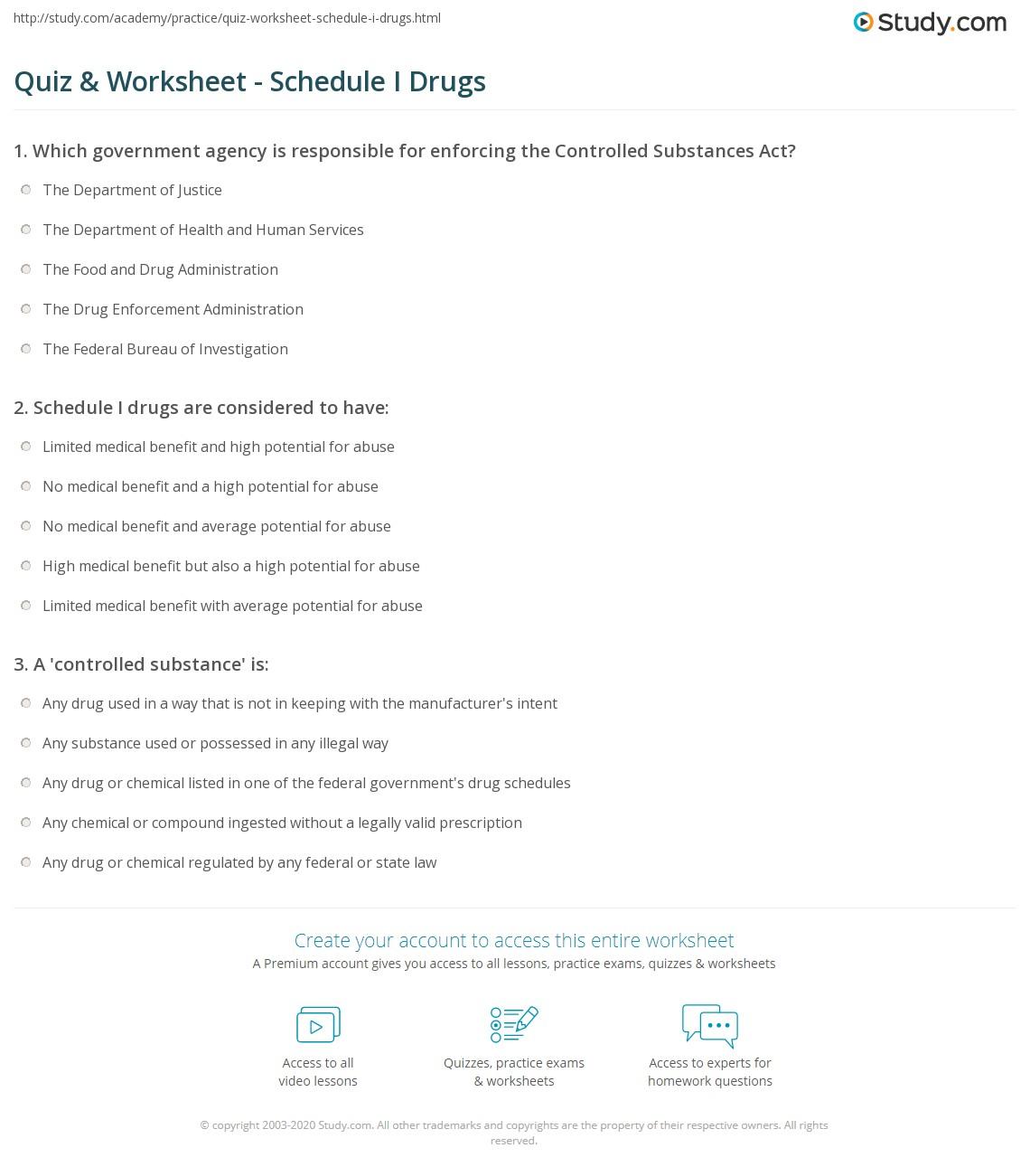 Print Schedule I Drug Classification \u0026 Drug List Worksheet