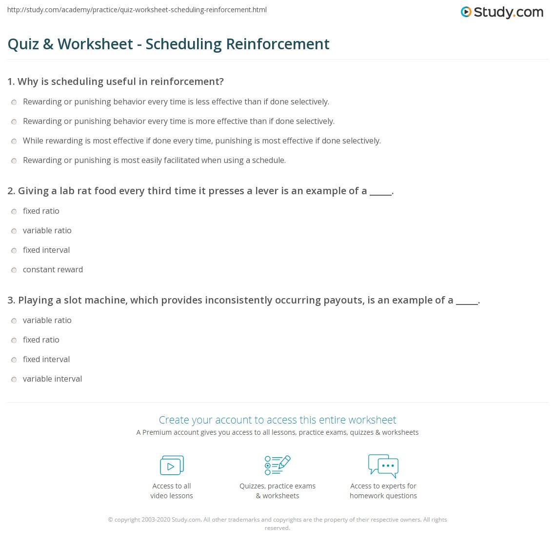 Quiz Worksheet Scheduling Reinforcement Study Com