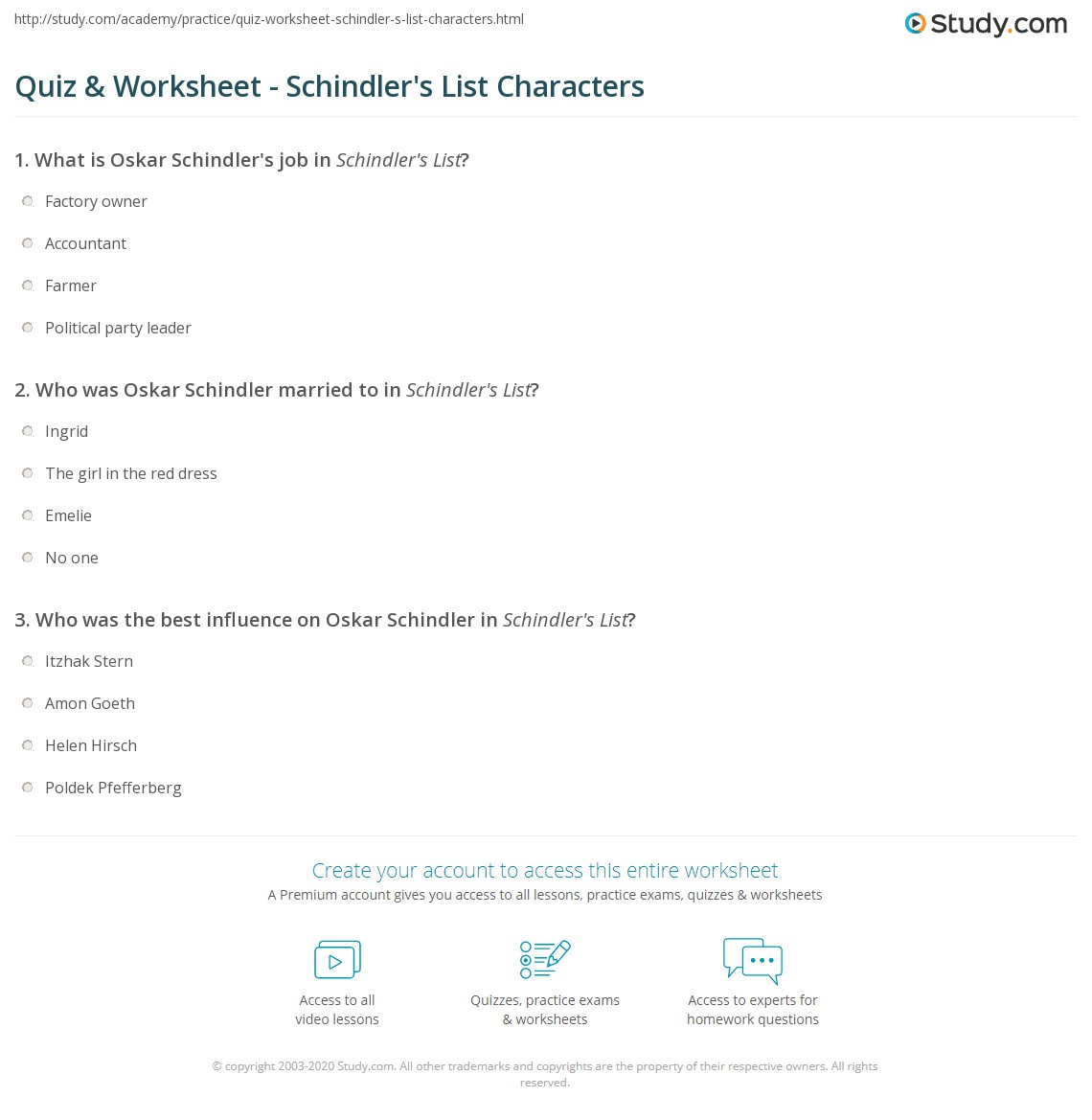 Quiz  Worksheet  Schindlers List Characters  Studycom Who Was Oskar Schindler Married To In Schindlers List Process Paper Essay also Health Care Essays  Persuasive Essay Topics High School Students