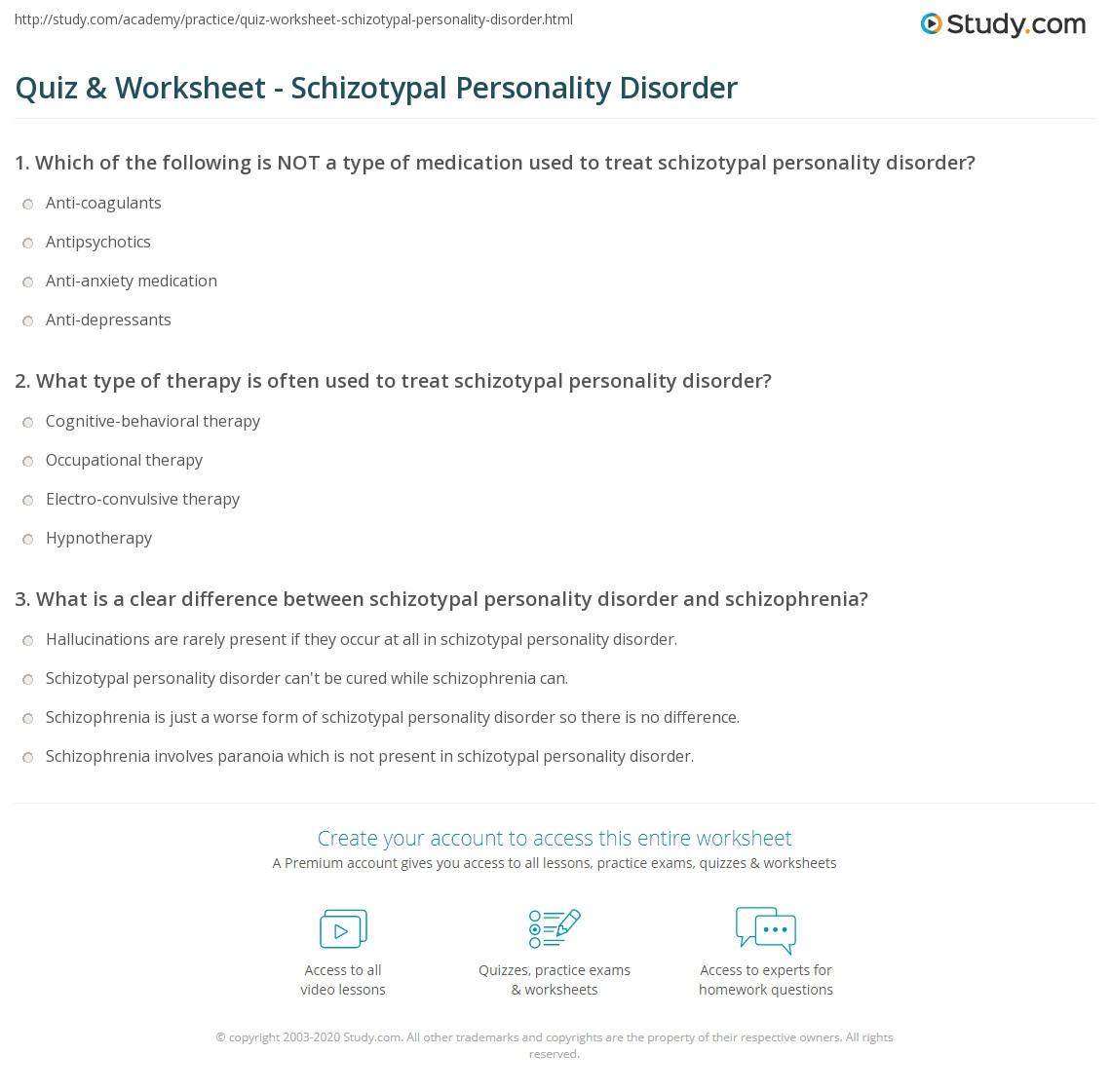 Quiz & Worksheet - Schizotypal Personality Disorder   Study com