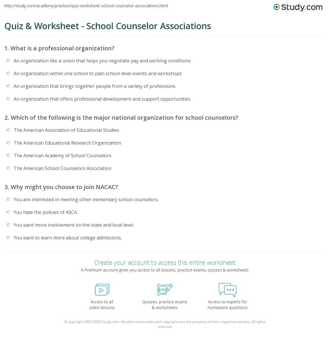 quiz worksheet school counselor associations com print professional organizations for school counselors worksheet