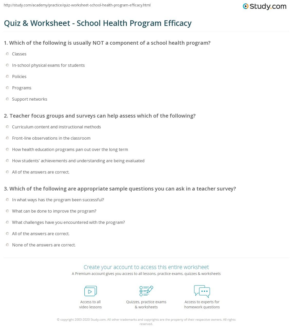 Quiz & Worksheet - School Health Program Efficacy | Study com