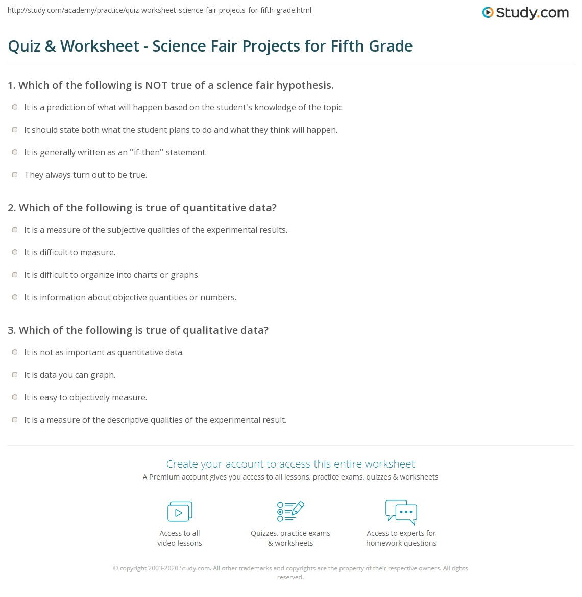 Quiz Worksheet Science Fair Projects For Fifth Grade Studycom