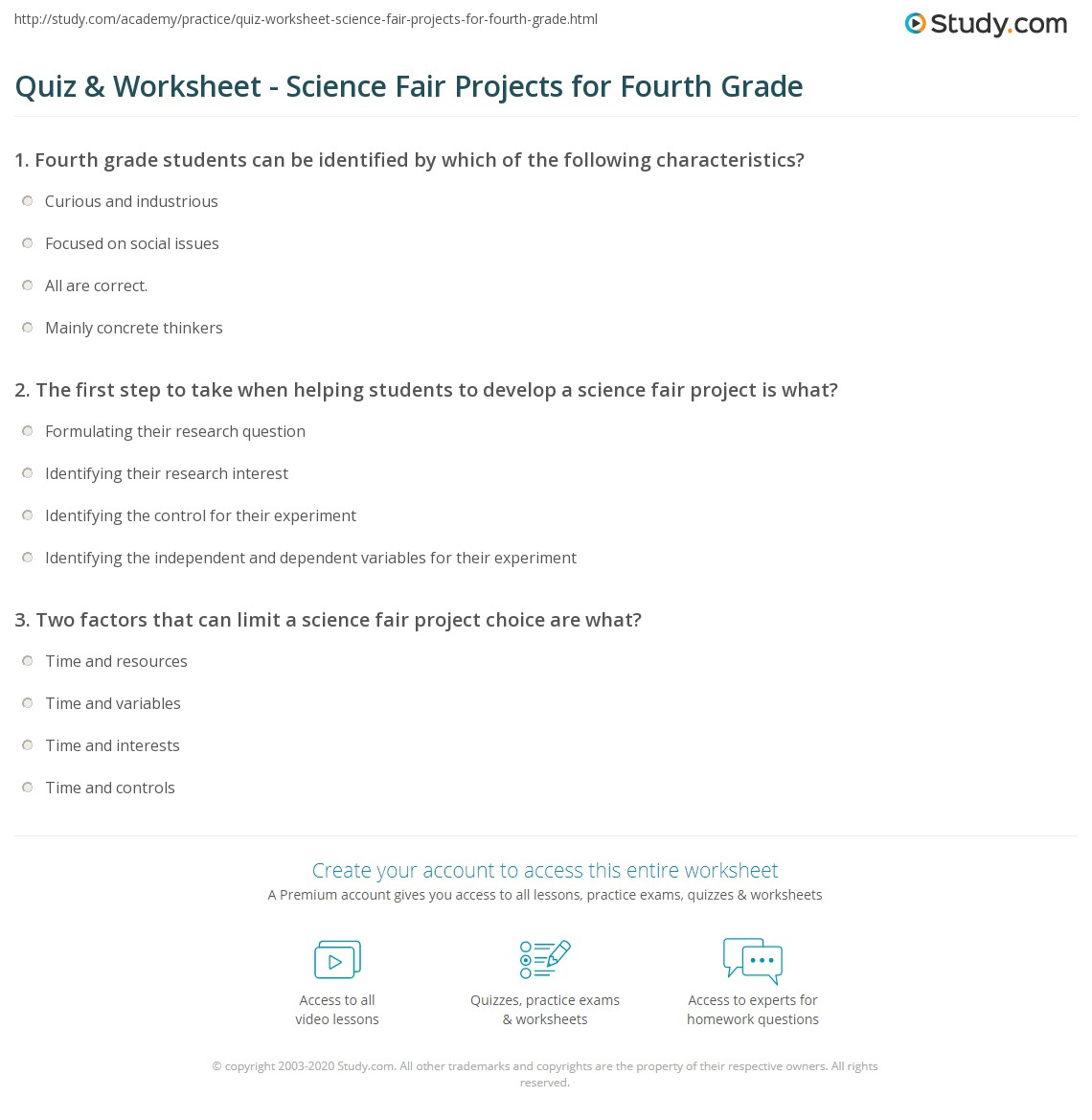 Worksheets Fourth Grade Science Worksheets quiz worksheet science fair projects for fourth grade study com print 4th worksheet