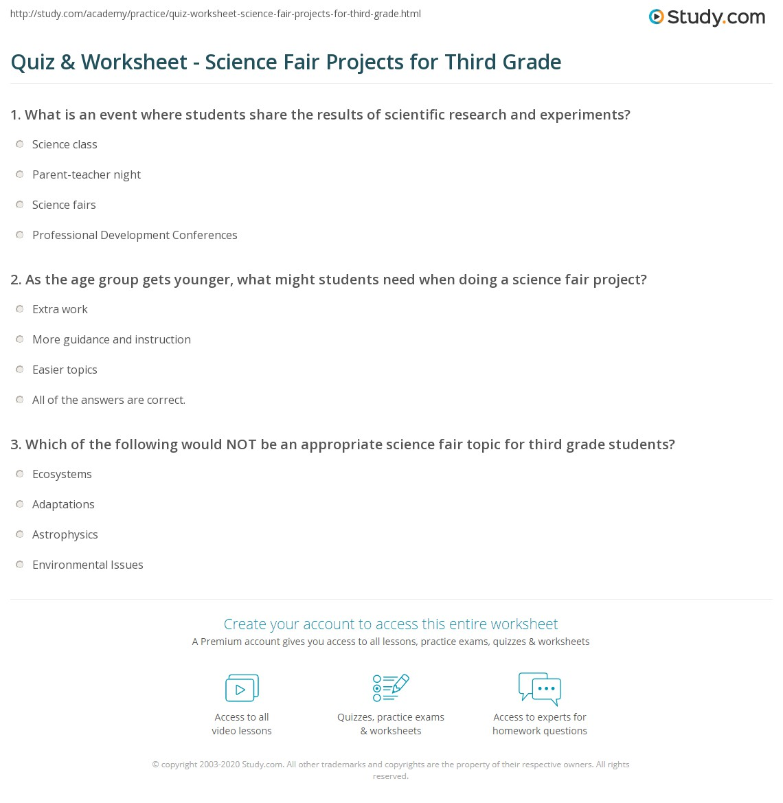 Quiz Worksheet Science Fair Projects For Third Grade
