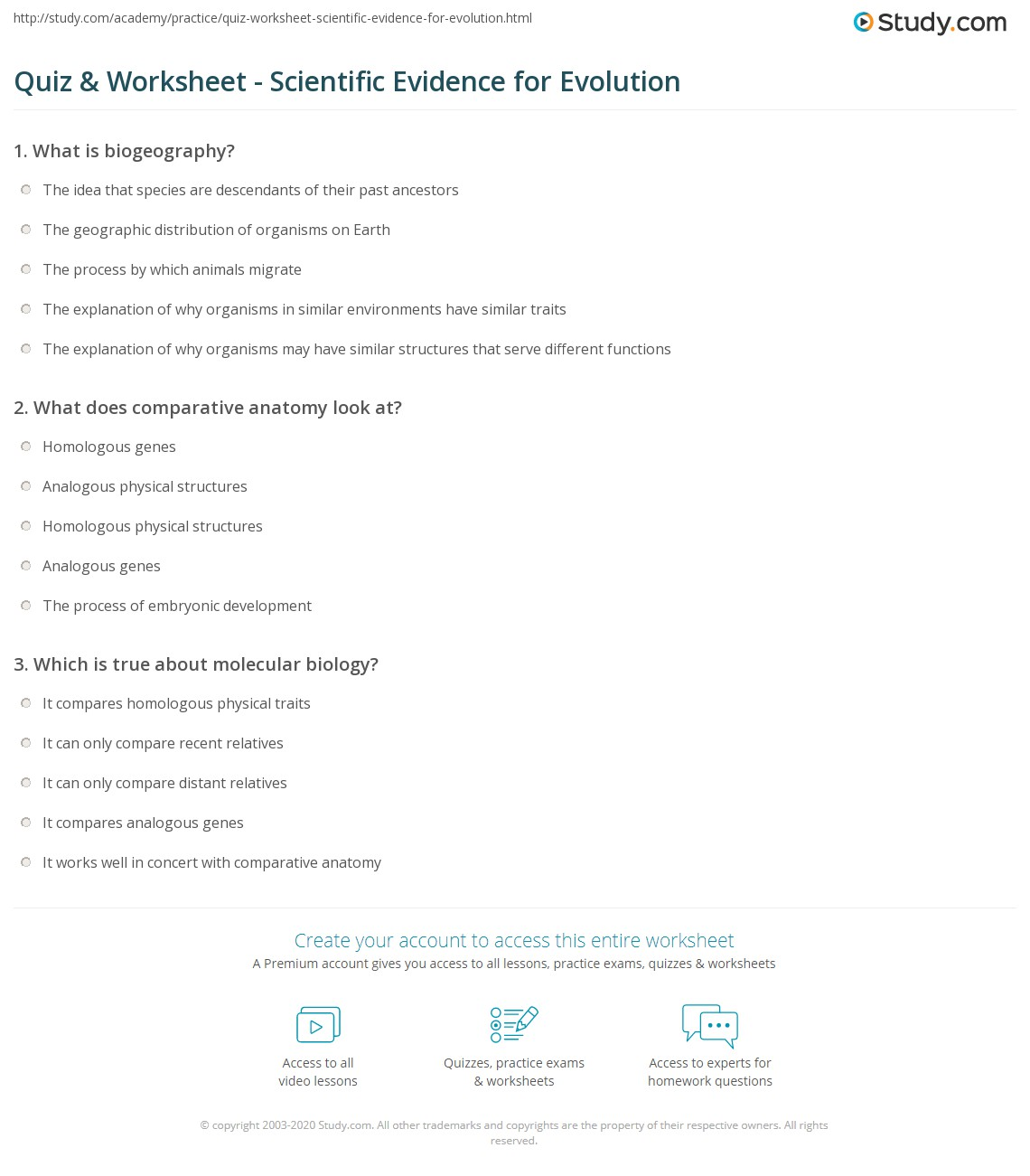 Quiz Worksheet Scientific Evidence For Evolution
