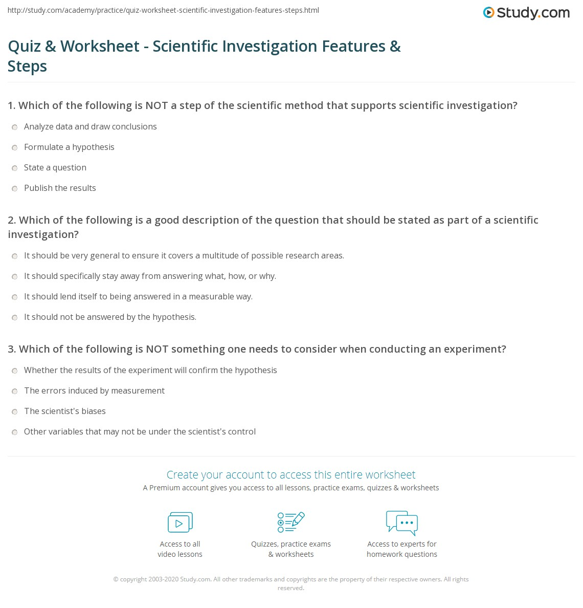 Uncategorized Scientific Investigation Worksheet quiz worksheet scientific investigation features steps print what is definition examples worksheet