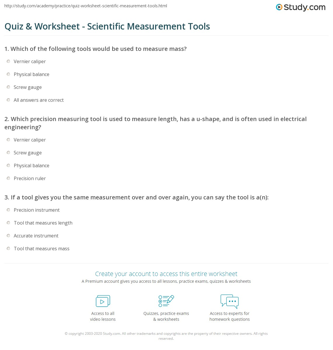 quiz worksheet scientific measurement tools. Black Bedroom Furniture Sets. Home Design Ideas