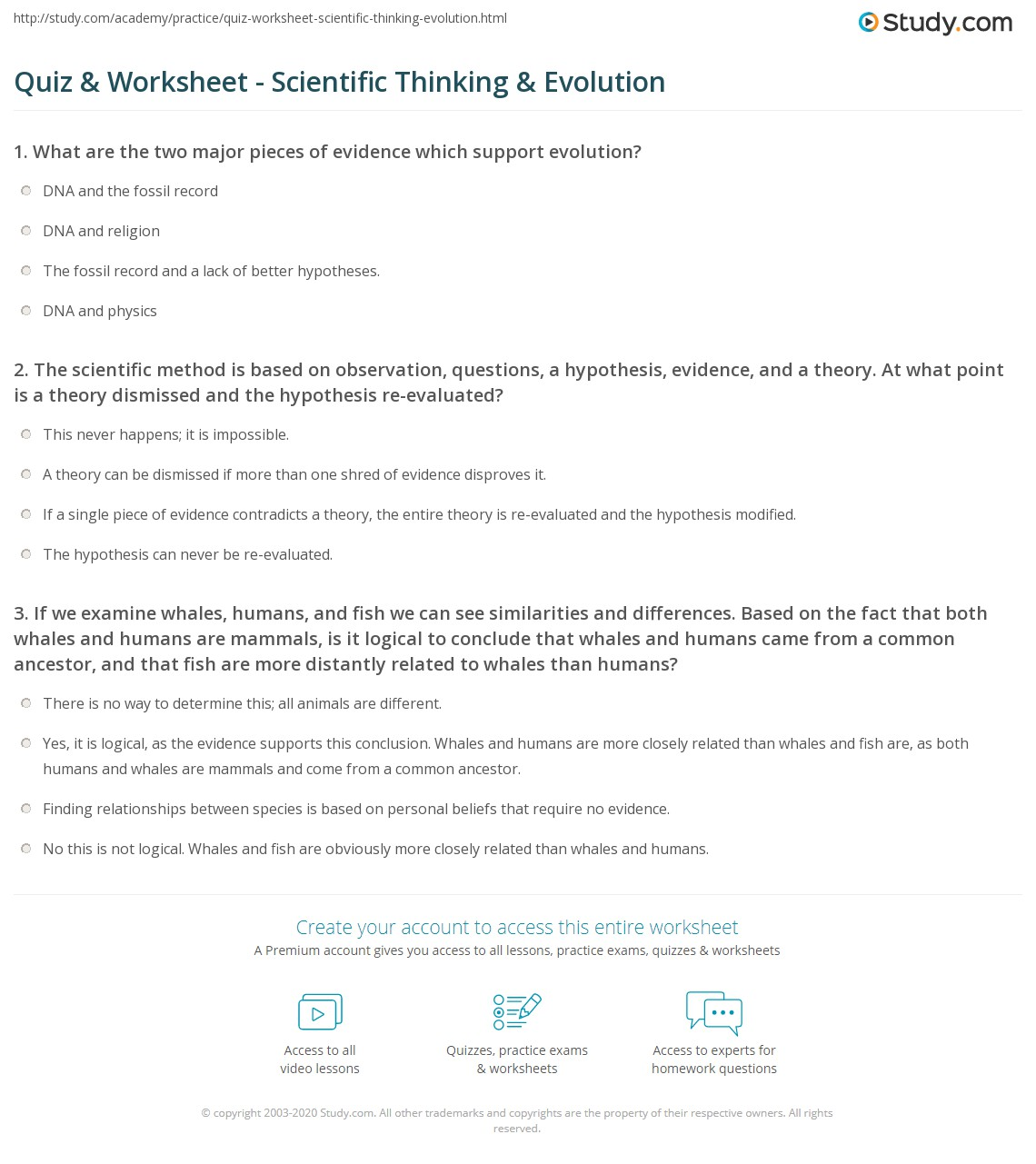 Quiz Worksheet Scientific Thinking Evolution – Evidence for Evolution Worksheet